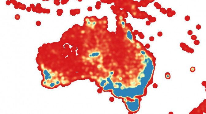 Heatmap of Threatened Plant Species of Australia